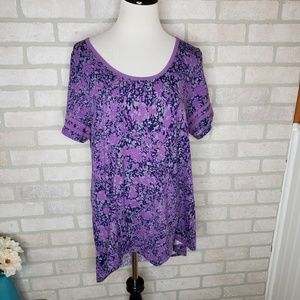 Lularoe Purple Floral Stripe Sleeve Perfect T